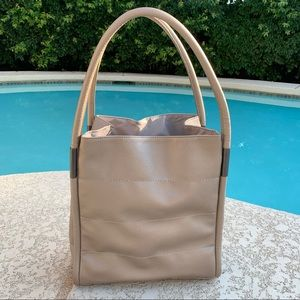 Neiman Marcus Vegan Leather Silver/Pewter Tote Bag